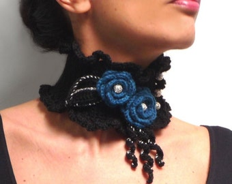 Crochet Black Neckwarmer with Teal Flowers and Silver Beads - Lux Choker Collar - JUSTINE