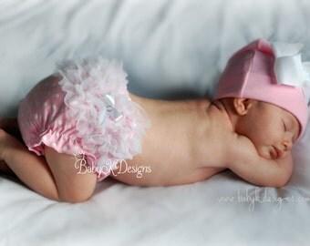 SAVE 15% Newborn Cotton Beanie n Ruffle Bloomer. Diaper Cover / Baby Beanie / Girls Hat / Hospital Hat /  White Pink Bow Cotton Beanie