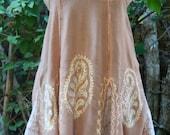 Short rayon hippie sundress small embroidered batik