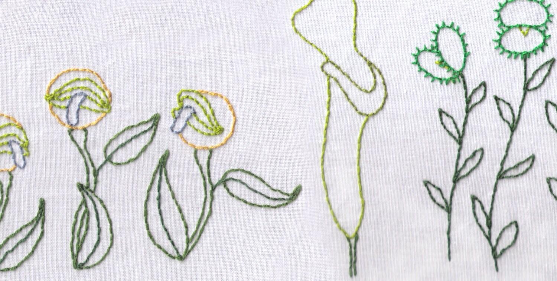 Plants hand embroidery pattern carnivorous garden
