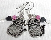 Cat Earrings - Pewter Textured Kitty Cats, Hematite Hearts, Pink Glass Pearls, Antiqued Silver - Cute as can be!