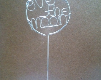 Cake Topper Wire Over the Moon Decoration Weddings, Parties