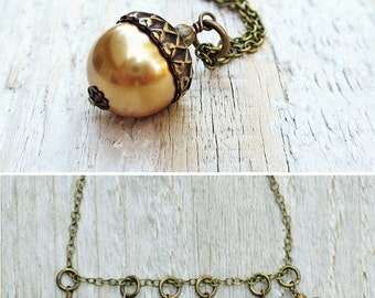 Pearl Acorn Necklace, Acorn Charm, Acorn Pendant Necklace, Antiqued Brass, Choice of Colors, Autumn Jewelry, Gift under 30, Woodland Wedding