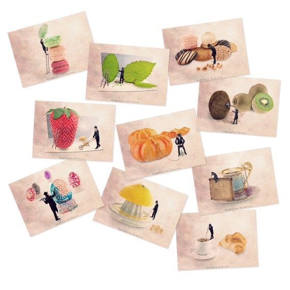 Postcard set, Food themed Art postcards, Food art, funny postcards, Postcard collection, fruit prints, Kitchen decor, postcards with fruit