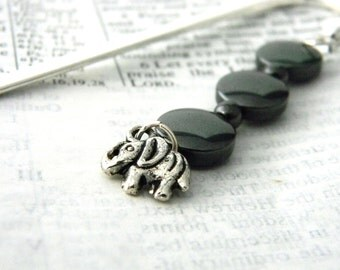 Elephant Bookmark with Black Hematite Beads Shepherd Hook Steel Bookmark Silver Color