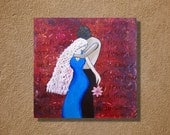 Large Colorful Original Mixed Media Acrylic Painting 24x24 Titled Lovers