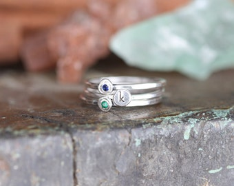 gem stone pebble and initial skinny stacking ring set... sterling silver and flush set gemstone stackable rings... gypsy set stones