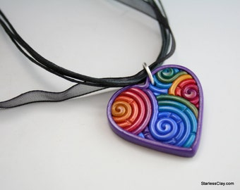 Rainbow Heart Necklace in Jewel Tone Polymer Clay Filigree Valentine's Day Gift