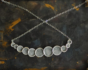 Silver Bubble Necklace, Slate Gray Necklace, Fashion Jewelry