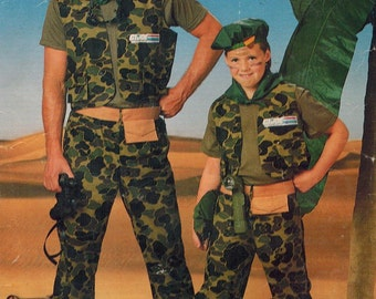 1980s Butterick 5875 Vintage Sewing Pattern Boys Costume GI Joe, Army, Military, Combat Fatigues Size S, M, L