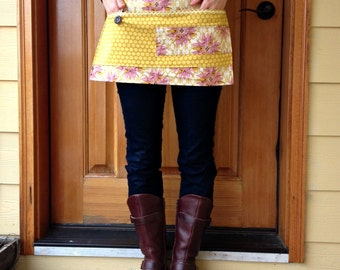 Vendor Apron- for craft fairs- art shows- farmstands- art teachers- Gold Dot and Pink Flowers -Ready To Ship