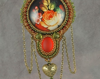Russian Rose Glass with Red Luna Soft Cabochon Bead Embroidered Necklace