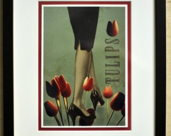 FRAMED ARTWORK. Tiptoe through the Tulips
