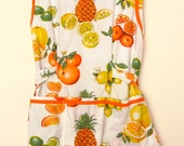 Vintage Tropical Fruit Cotton Apron Smock