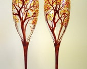 Champagne Toasting Flutes Hand Painted Autumn Trees - Set of 2