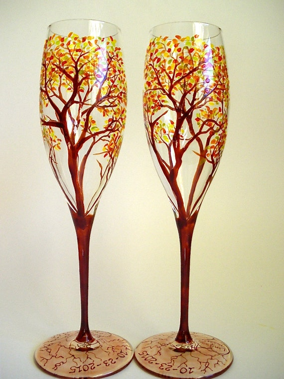 Champagne Toasting Flutes Wedding Anniversary Hand Painted Autumn Trees - Set of 2