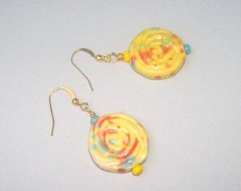 Mismatch TIE DYE ROSE Earrings - Asymmetric Hippie Jewelry