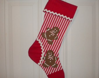 Christmas Stocking Appliqued with Gingerbread Men