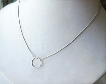 Silver Circle Pendant Necklace  - Layering Necklace -  Minimalist Jewelry - O Necklace - Everyday Necklace - gift under 30