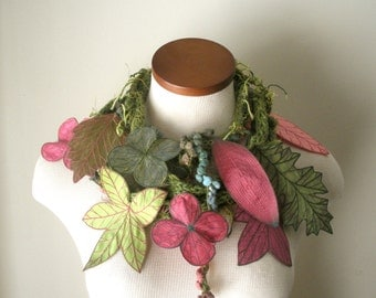 Long and Leafy Scarf with Embroidered Leaves - Asparagus Green with Leaves of Rose, Thulian Pink, and Peridot Green - Fiber Art Scarf