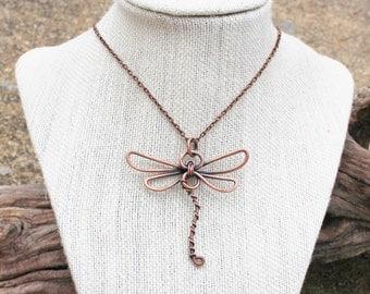 Dragonfly Necklace. Oxidized Copper. Wire Wrapped.  Wire Jewelry