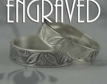 Lotus Water Lily Ring--Solid Sterling Silver Wedding Band--Flower and Leaf Motif Band--Symbol of Rebirth -Custom Engraved with your Message