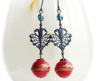 Red Victorian Dangle Earrings Vintage Bead Earrings Black Brass Jewelry Filigree Dangle Earrings Red Gold Earrings Victorian Jewelry