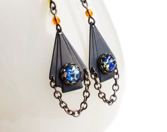 Art Deco Earrings Antique Brass Chain Vintage Black Opal Art Deco Jewelry Canada Free Shipping