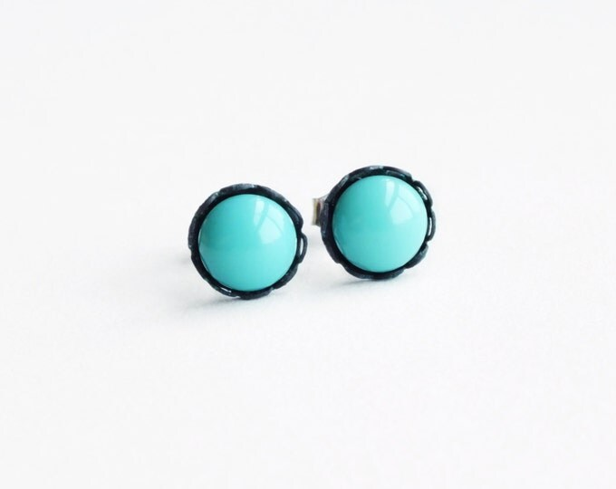 Tiny Turquoise Stud Earrings Vintage Round Aqua Glass Post Earrings Robins Egg Blue Hypoallergenic