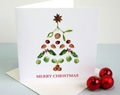 Christmas Card - Christmas Tree Illustration - Botanical Christmas Card - Sprouts, nuts, mistletoe, spice, holly and cranberry Illustrations