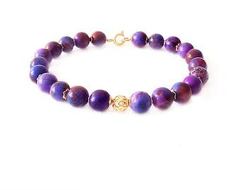 Gold Gemstone Bracelet - Magnesite - Purple, Gold - The Stoned: Speckled Filigree 8mm Round
