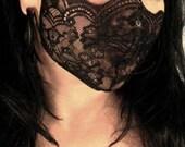 black lace, mask, fetish, lingerie, fantasy, cos play, club wear, medical fetish, play wear: Renegade Icon Designs