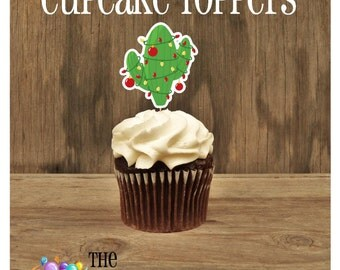 Cowboy Christmas Party - Christmas Cactus Tree Double Sided Holiday Cupcake Toppers by The Birthday House