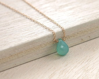 Turquoise Gold Necklace . Aqua Chalcedony Goldfilled Necklace . delicate layering necklace