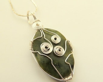 Mossy Green Agate Wire Wrapped Pendant on Silver Chain, Silver Wire Wrapped Gemstone, Handcrafted Wire Wrapped Pendant, Triskele Design