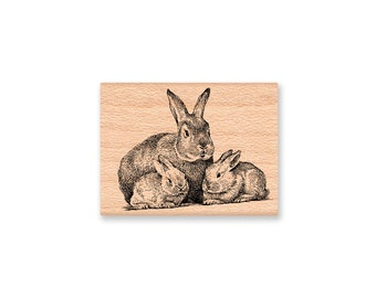 Rabbit Rubber Stamp Rabbits Easter Spring Bunny Bunnies mommy new baby woods forest animal mother's day new mom baby shower art (45-19)
