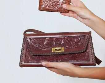 Vintage 50s Tooled LEATHER Bag Chocolate Brown Leather FLORAL Bag Southwestern Boho Handbag w/ Matching Wallet Artisan Leather BOX Handbag