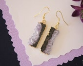 Gold Amethyst Slice Earrings, Amethyst Crystal, Earrings, Purple,  Rock Gold Earrings, AE49