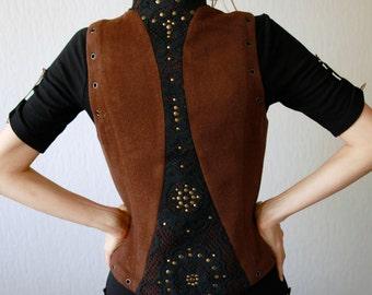 Woodland vest - brown vest decorated with black lase