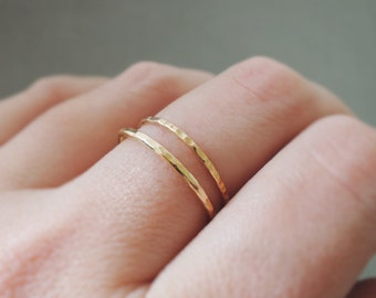 Gold Rings 2 thin gold rings stacking rings - thumb ring - midi ring - knuckle ring or pinky rings