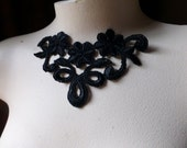Lace Applique in Black Venise Lace for Lace Necklaces, Jewelry or Costume Design SBLA 417