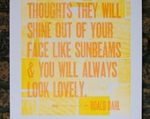 "Roald Dahl Letterpress Quote 14"" x 18"""
