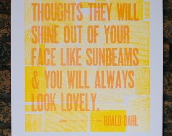 """Roald Dahl Letterpress Quote 14"""" x 18"""""""