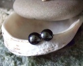Shiny 5.5mm Hematite Stud Earrings Earings Titanium Post and Clutch Hypo Allergenic Handmade in Newfoundland Yang