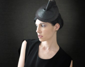SALE - Grey Felt Cocktail Hat with Black Leather and Guinea Fowl Feather - Arthropod Series