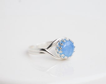 Blue Chalcedony Gemstone RING Sterling Silver Adjustable Light Blue Crown