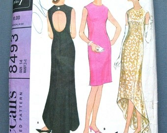1960s Pauline Trigere Designer McCall's 8493 Evening Gown Vintage Sewing Pattern Waterfall Dress Cut-out Back Cocktail Dress  Bust 34 inches
