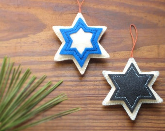 STAR of DAVID Blue & White, Holidays Eco Ornaments, Soft Sculpture with Organic Cotton — Étoile / Estrella de David, ornement - ornamento