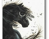 Majestic Horse Friesian Fine Art - Original Canvas Painting by BiHrLe mm38
