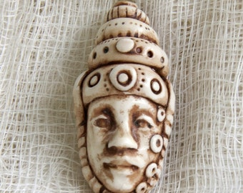 Handmade Faux-Ivory Face Pendant with Stacked Crown